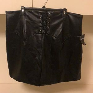 Forever 21 Leather Tie Up Skirt